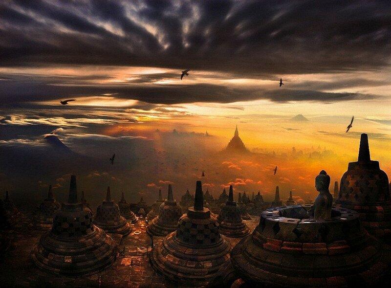 Восход солнца над храмом Боробудур