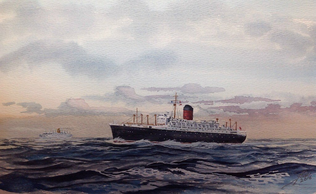 Sylvania of Cunard Steam Ship Co.Ltd passing one of the Empresses of the Canadian Pacific.