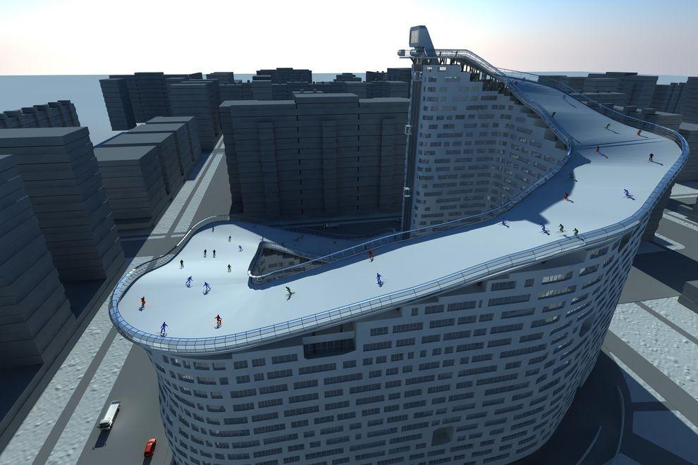 4. Проект уникального дома с горнолыжной трассой в Казахстане. На первой этаже здания планируется ра
