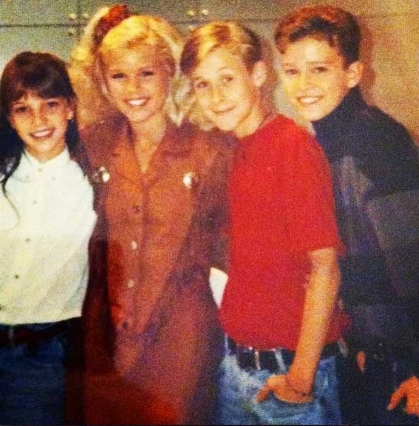 Слева направо: Бритни Спирс, Кимберли Колдуэлл, Райан Гослинг и Джастин Тимберлейк.