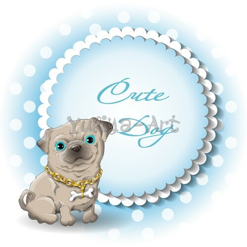 cute dog pug vector
