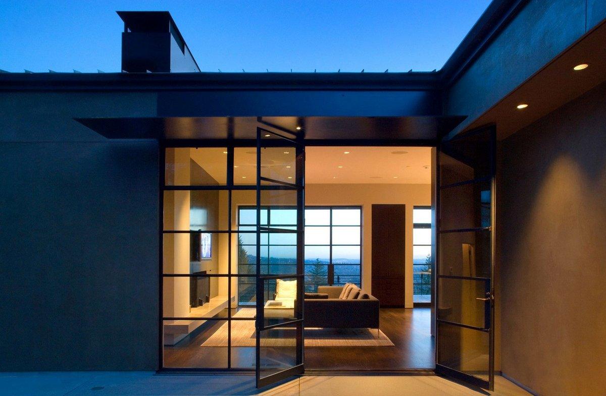 стеклянные двери в частном доме