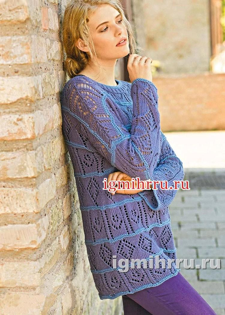 Пуловер в лиловых тонах, с полосами ажурных узоров. Вязание спицами