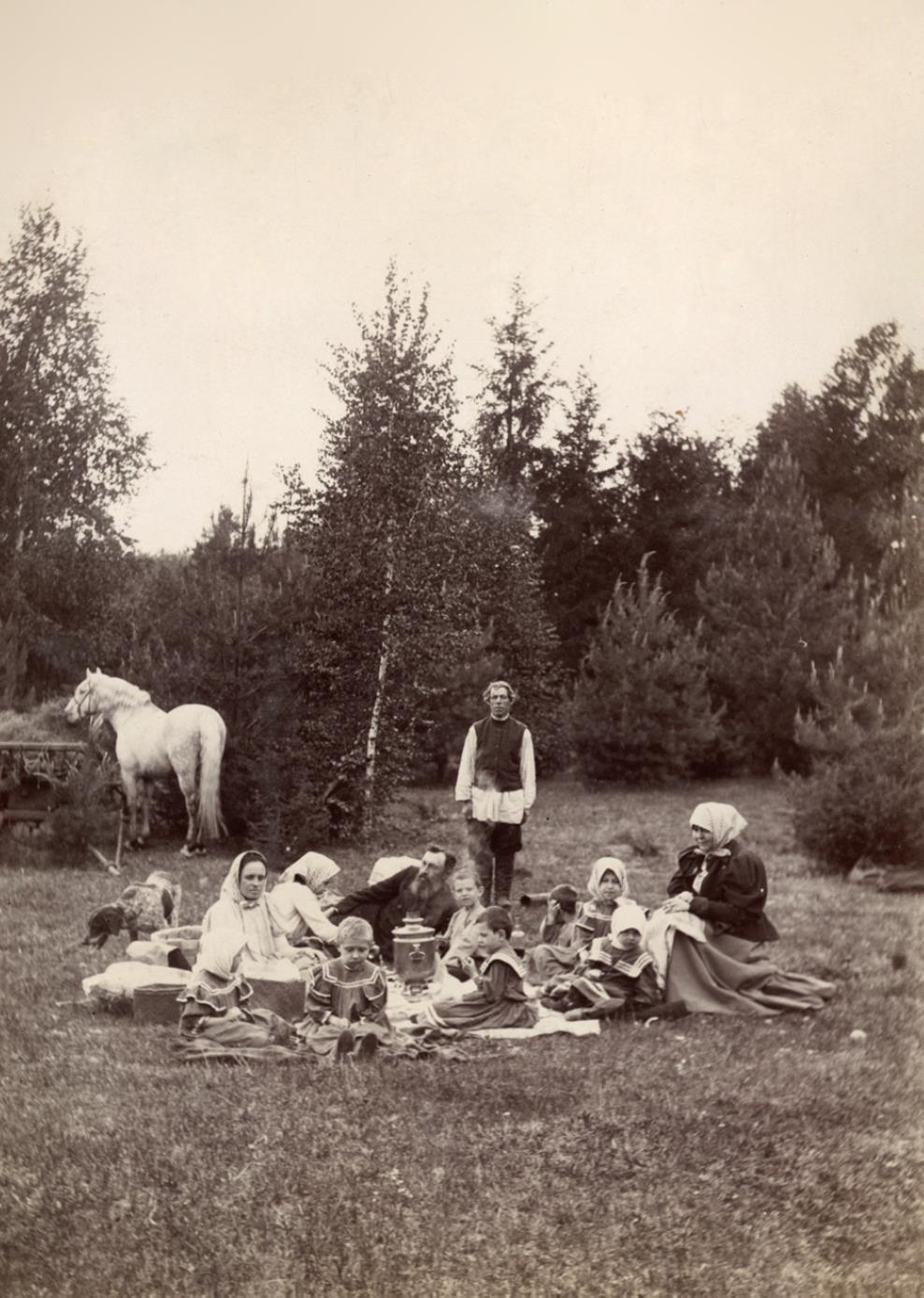 Семья Мяздриковых. Пикник в в Подболотском лесу. 1898-1899