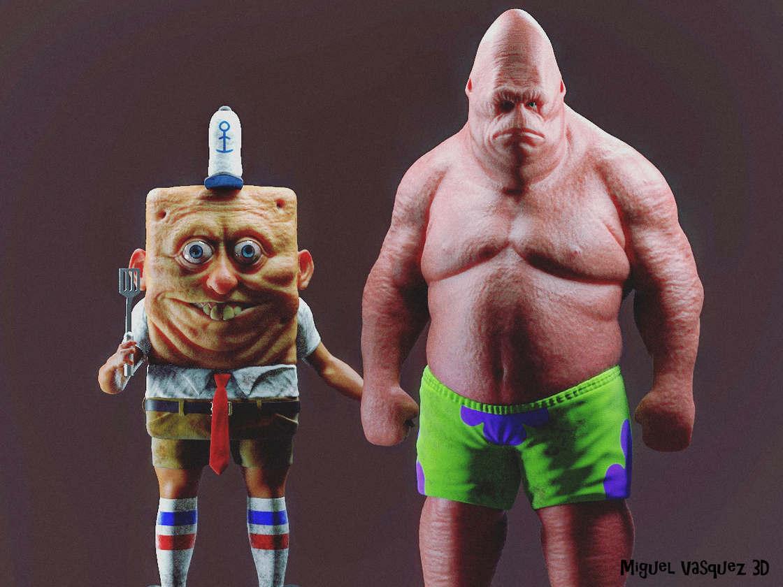 Nightmare fuel – Realistic version of SpongeBob and Patrick (10 pics)