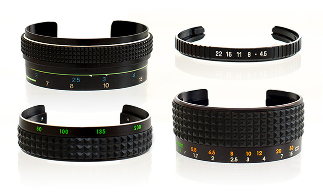 Stefaan duPont over at SDPNT is making some wonderful one-of-a-kind cuffs from old camera lenses. Ev