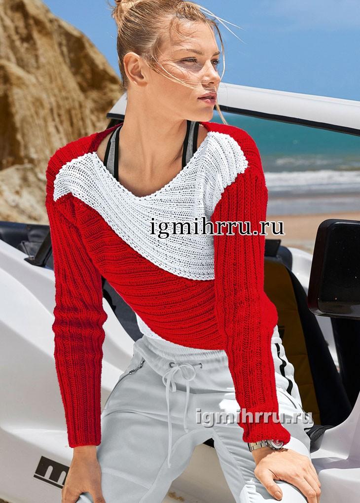 Красно-белый пуловер, связанный резинкой в разных направлениях. Вязание спицами