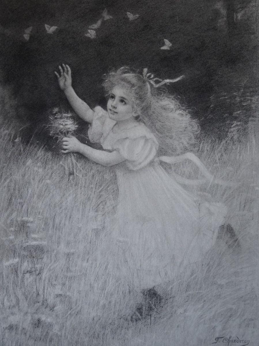 Gravure ENFANT FILLE JEUX PAPILLON POÈME CAMILLE ROY FRANCINE CHARDERON 1890