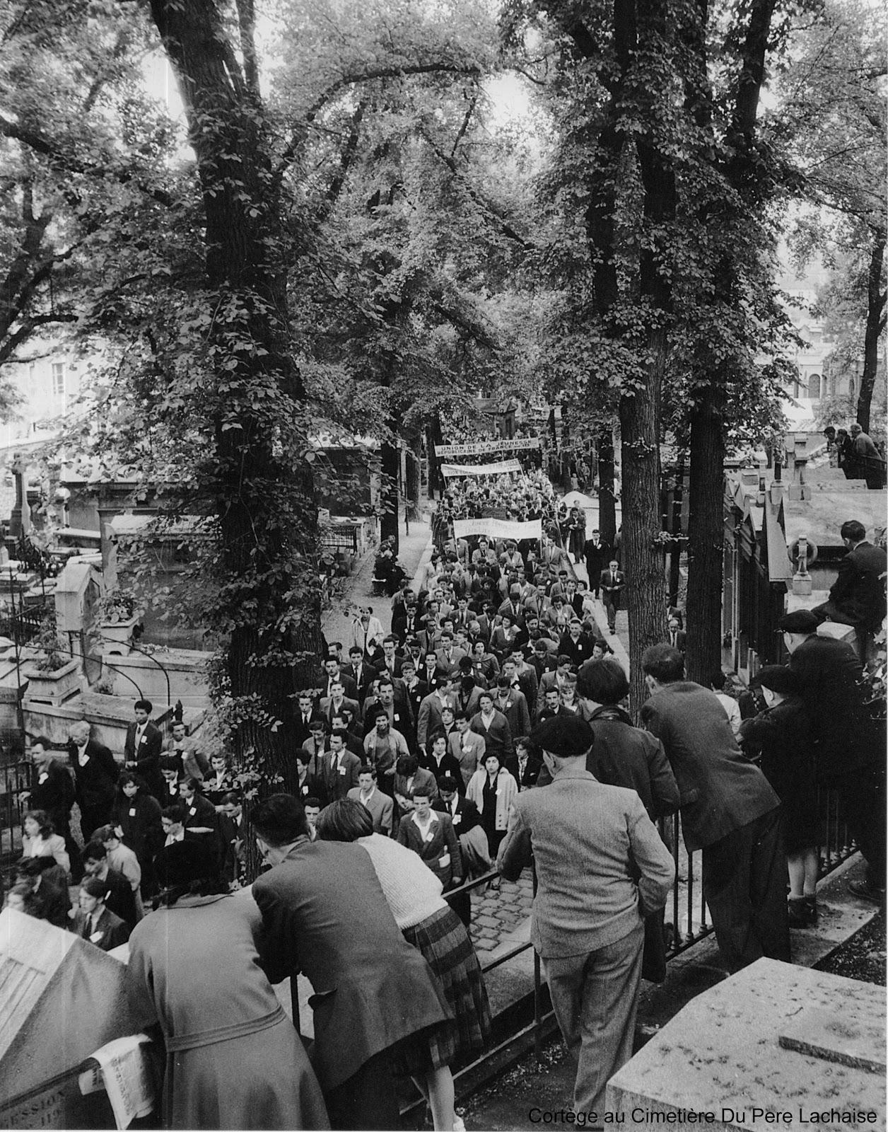 1954. Похороны на кладбище Пер-Лашез