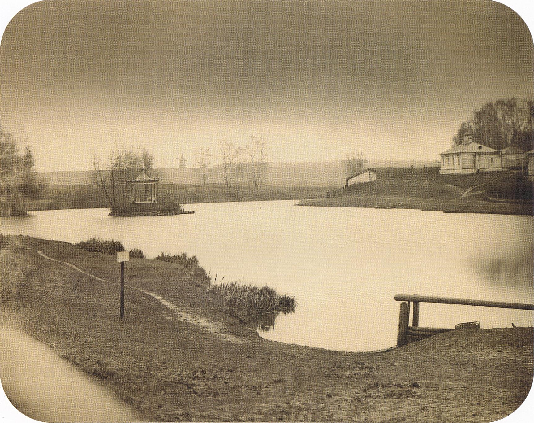 Вид на пруд с беседкой. 2-я пол. 1860-х.