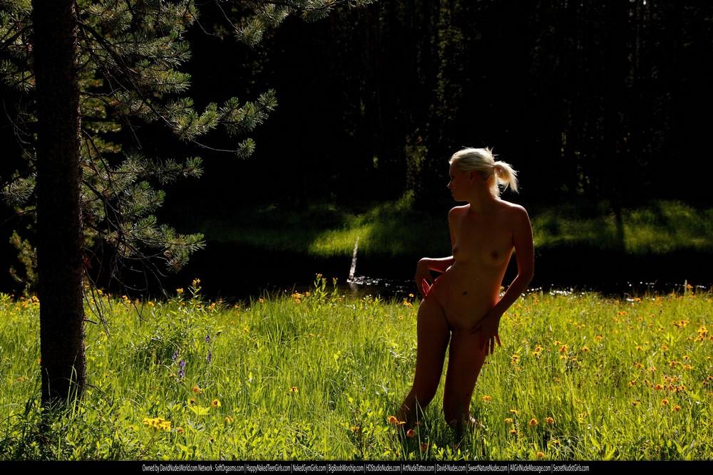 Обнаженная Татьяна в Йеллоустонском парке