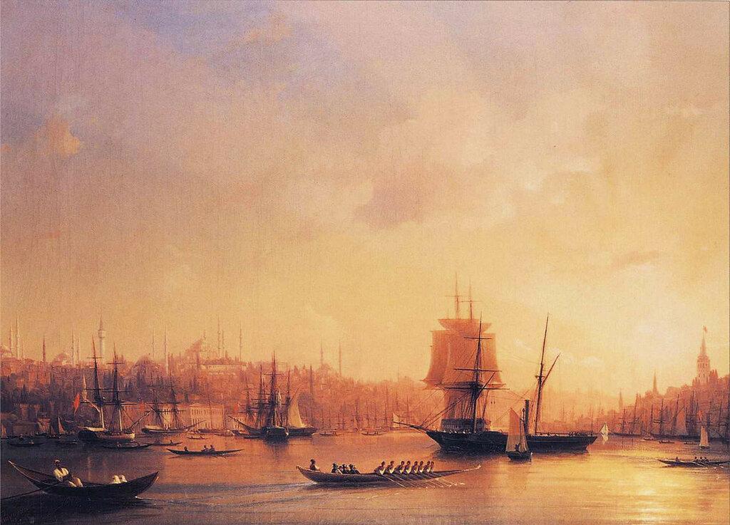 Сумерки в бухте Золотой Рог 1845 год