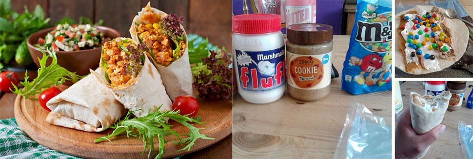 Техасско-мексиканское буррито Традиция использовать тортильи, чтобы заворачивать еду, берет начало в