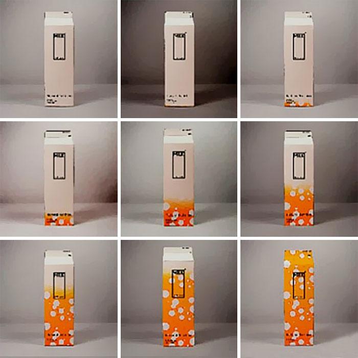 Картонный пакет из-под молока меняет цвет по мере того, как приближается дата истечения срока хранен