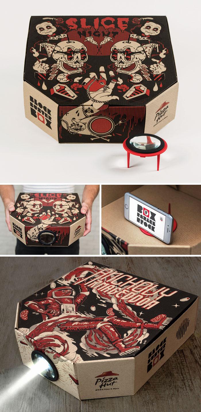 Коробка для пиццы, из которой можно сделать проектор.