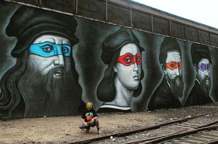 Street Art – When the Ninja Turtles meet the artists from Renaissance (8 pics)