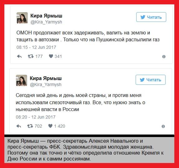 Кира Ярмыш, пресс-секретарь А. Навального об отношении  Кремля к Дню России и к россиянам