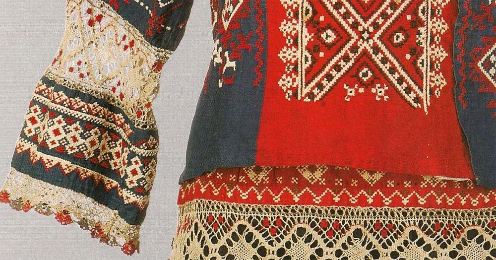 Кружево и вышивка в русском костюме