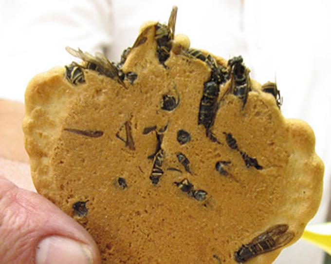 И вновь о японской кухне. Этот снек готовят из особо злобных черных ос, которые активно охотятся на