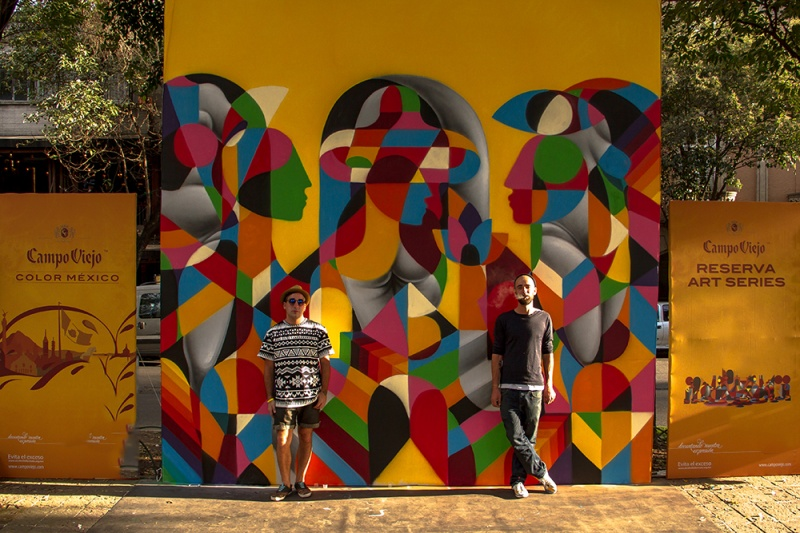 Remed иOkuda нафоне работы для Campo Viejo Reserva Art Series вМехико. Работы Remed иOkuda сразу