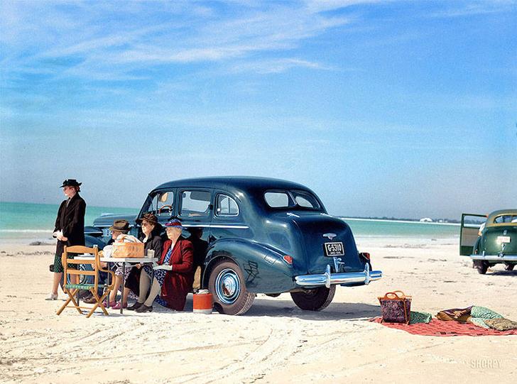 Любители пикников в Сарасоте, США, 1941 год.