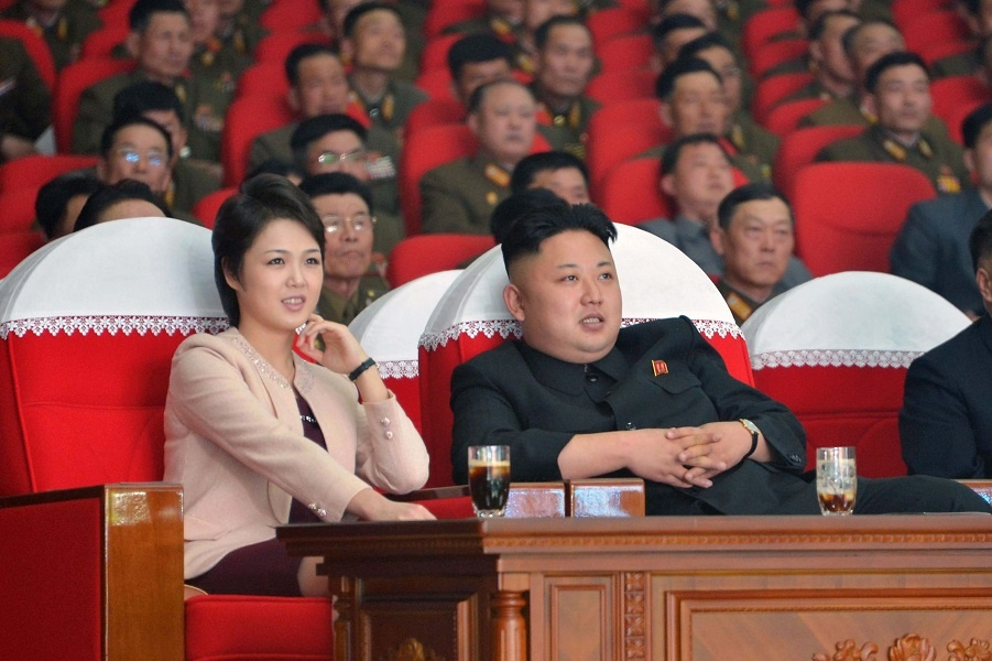 Kim Jong-un with wife at concert