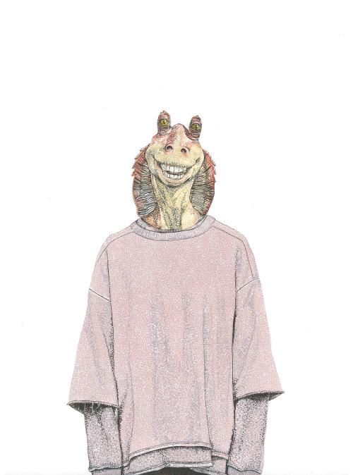 Jar Jar Binks wearing Yeezy x Adidas Originals Fall 2015 Collection.