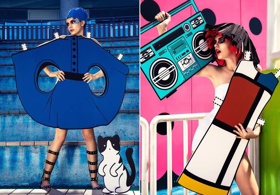 Real-Life Paper Doll with 9 Paper Cutouts Inspired by Iconic Fashion Designs (10 pics)