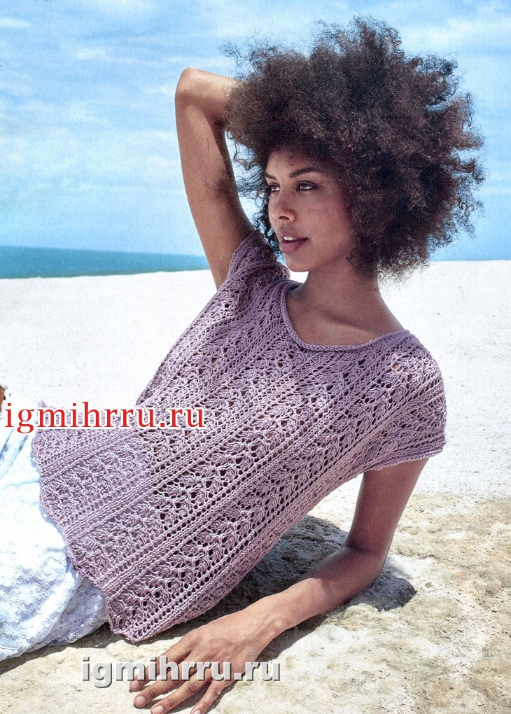 Ажурный летний пуловер цвета лаванды. Вязание спицами