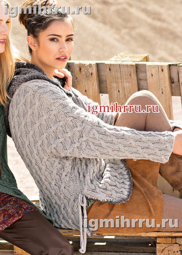 Просторный пуловер с плетеным узором и косами. Вязание спицами