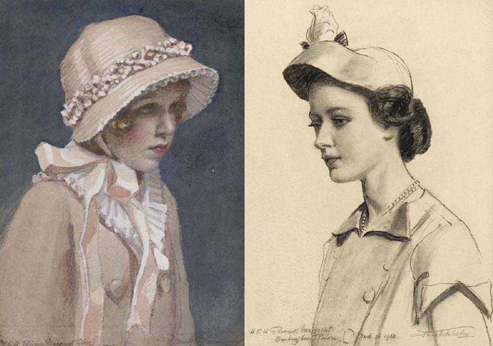 слева: Princess Margaret in a Pink Bonnet   справа: Его Королевское Высочество Принцесса Маргарет, 1952