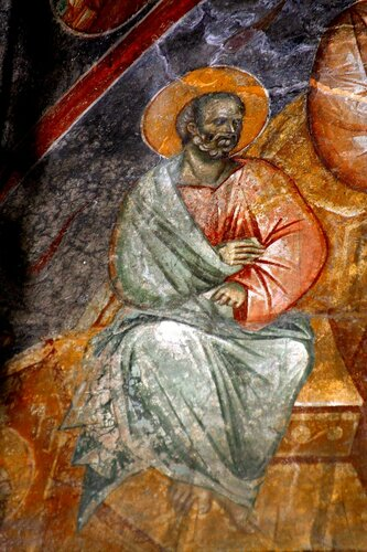 Сошествие Святого Духа на Апостолов. Фреска в церкви Спаса в монастыре Жича, Сербия. 1309 - 1316 годы.