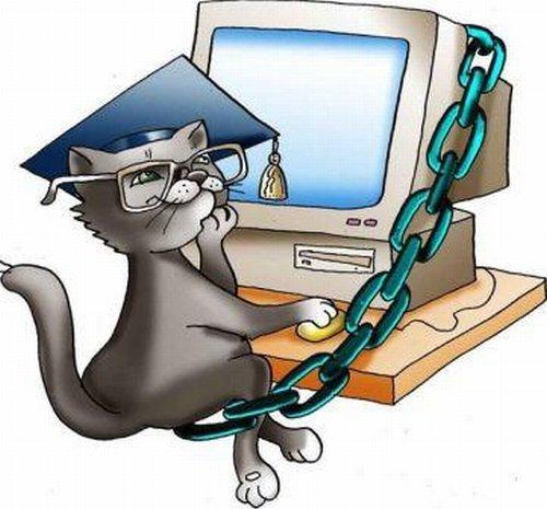 Открытки. День Интернета в России! Кот ученый теперь в интернете