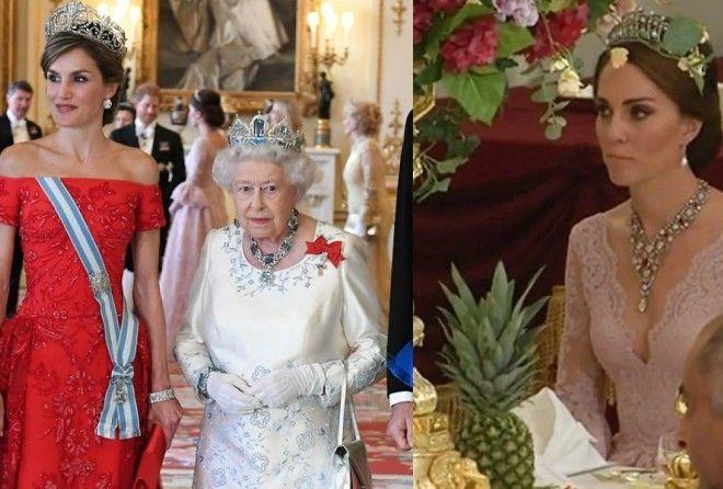 Кейт Миддлтон позволила себе декольте, чтобы переплюнуть испанскую королеву