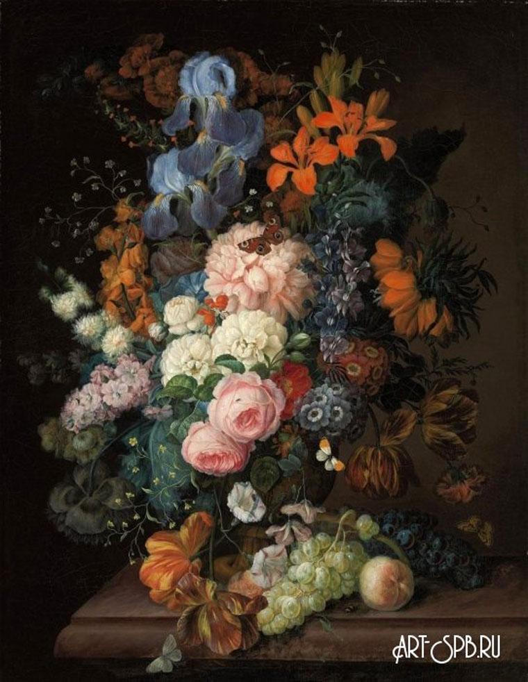 18853.jpgНатюрморт с цветами и фруктами на каменном выступе. Франц Ксавер Петтер.jpg