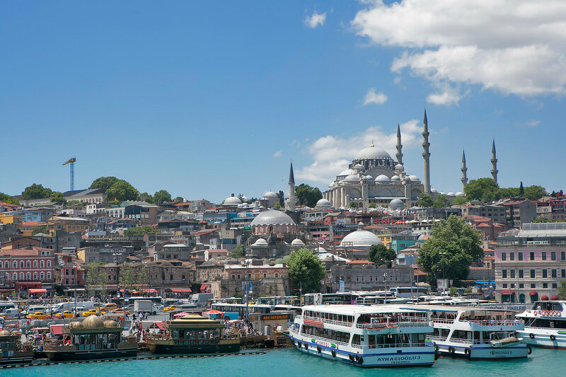 Istanbul cityscape in Turkey with Galata Tower, 14th-century city landmark in the middle