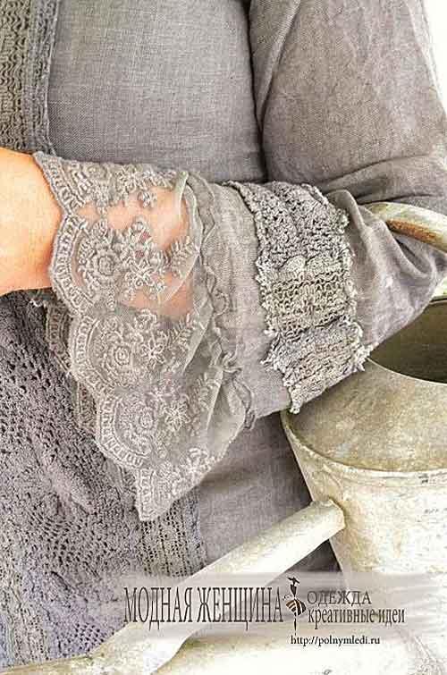 Переделка одежды. Перешиваем манжет рукава красивым кружевом с вышивкой