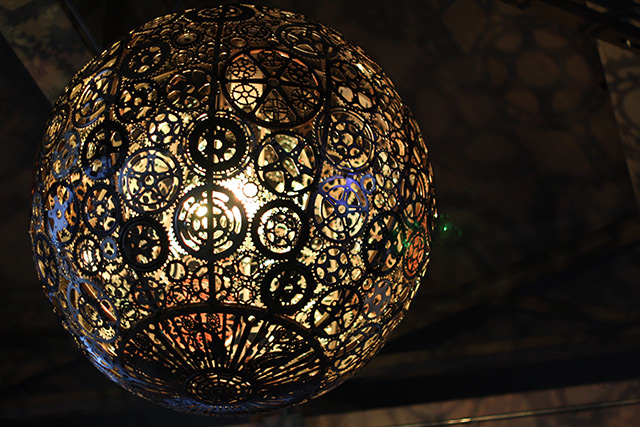 Ballroom Luminoso is a series of six chandeliers designed by artists Joe O'Connell and Blessing Hanc