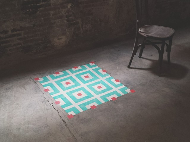 Geometric Tile-Like Patterns Sprayed on Floors in Abandoned Buildings (9 pics)