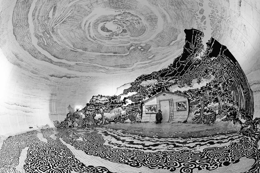 Panoramic Japanese Landscape Inside an Inflatable Dome