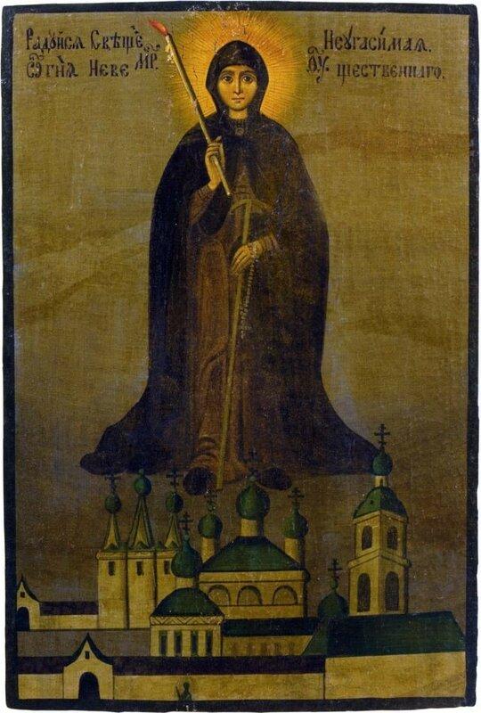 Икона Божией Матери «Свеча Неугасимая», или «Вратарница Угличская». Список с иконы Божией Матери «Свеча Неугасимая», или «Вратарница Угличская».Находится в частном собрании.