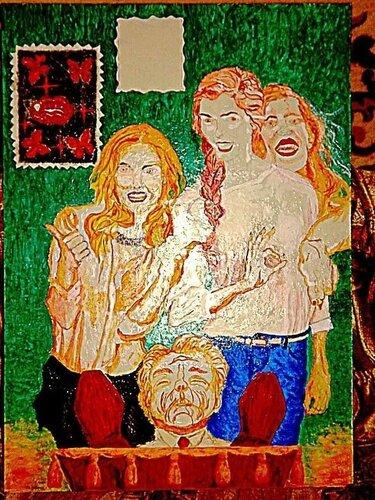 """Моя будущая картина. Она будет называться """"Сатанизм.Дочери-наследницы радуются смерти своего отца-миллионера.Современная российская действительность..."""" - 2-й этап,прорисовка фигур"""