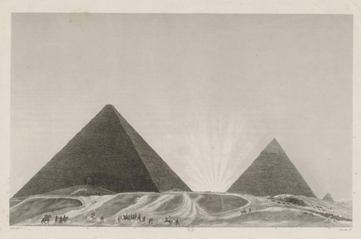 Пирамиды до входа в Великую Пирамиду, зарисованные на рассвете