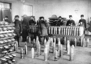 Осмотр снарядов. 1914
