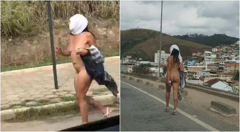 Голая бразильянка на дороге смутила водителей
