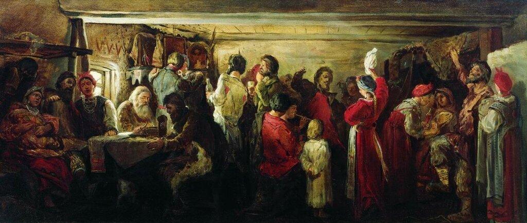 Крестьянская свадьба в Тамбовской губернии. 1880.jpg