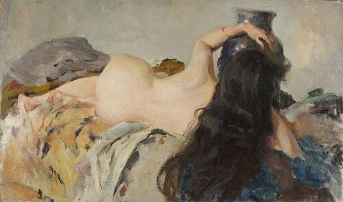 Валентин Александрович СЕРОВ - Натурщица с распущенными волосами. 1899