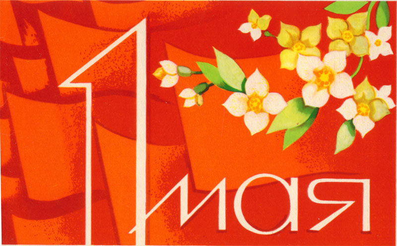 Открытка. 1 мая! Цветущая ветка на красном фоне открытки фото рисунки картинки поздравления