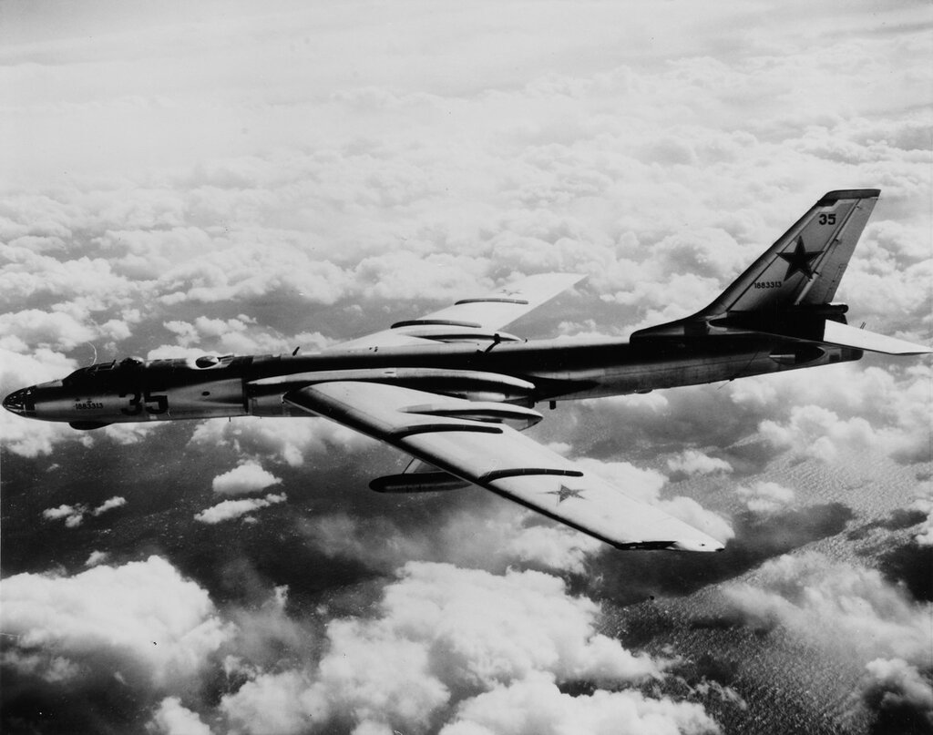 Tupolev TU-16 Badger Bomber/Rescue Plane. Photographed by a USS KITTY HAWK plane as it overflew the carrier task force northwest of Japan, January 1963.