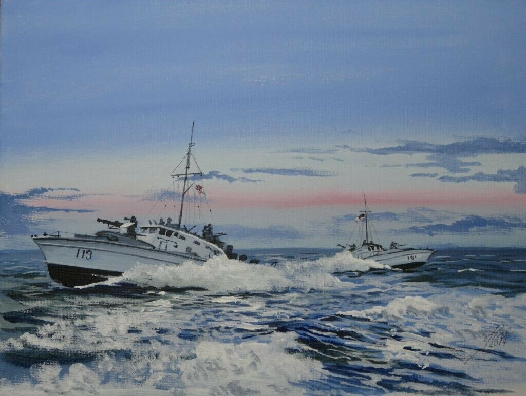 Painted this afternoon Motor Gun Boats pull out of line to attack in WW2.